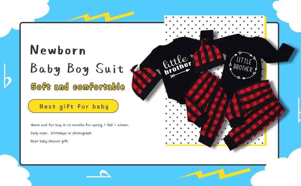 Newborn Baby Boy Clothes Little Brother Long Sleeve Romper+Plaid Pants+Hat 3pcs Outfits Set