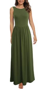 Berydress Women's Sleeveless Racerback Casual Summer Dresses Boho Long Maxi Dresses with Pockets