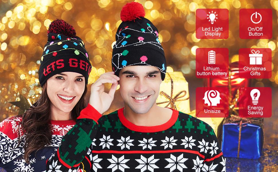 Unisex Stylish LED Light Up Ugly Christmas Hat Beanie