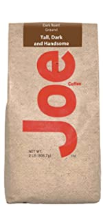 Dark roasted gourmet ground coffee. Full flavor, smooth