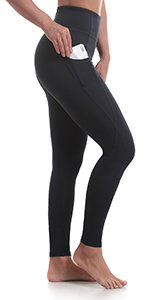Women's Yoga Pants High Waisted Workout Running Leggings with Side Pocketed Tummy Control