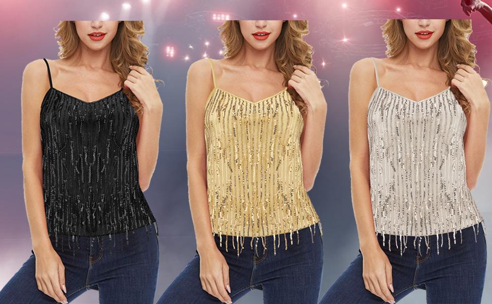 Wildtrest Women's V Neck Sleeveless Sparkle Shimmer Squein Stain Tank Top Cami Vest