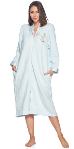 Quilted Long Sleeve Zip Up House Dress Robe