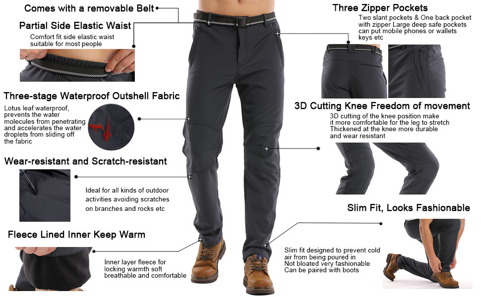TSLA Mens Winter Waterproof Softshell Hiking Pants Outdoor Snow Ski Fishing Fleece Lined Insulated Pants