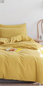 yellow duvet