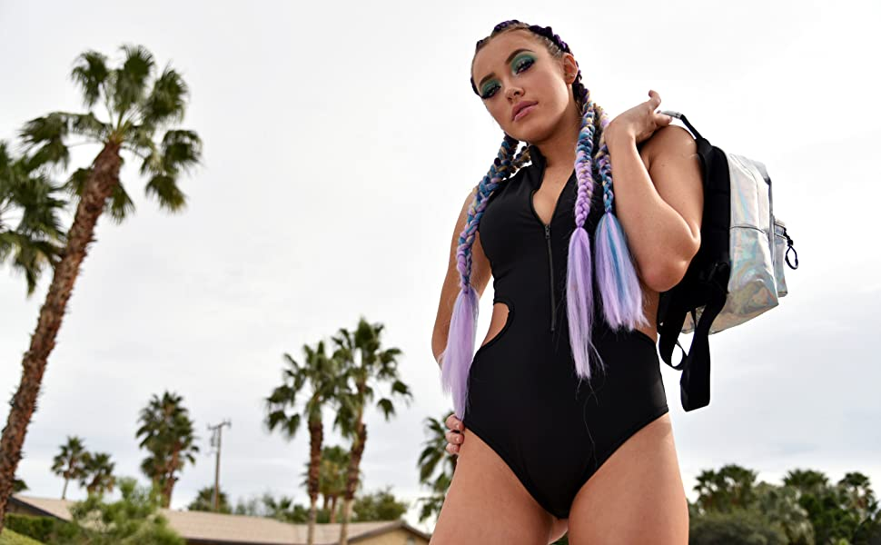 iheartraves model wearing black cutout zip up bodysuit rave outfit clothes for women