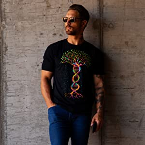into the am model wearing tree of life dna spiritual graphic tee t-shirt for men
