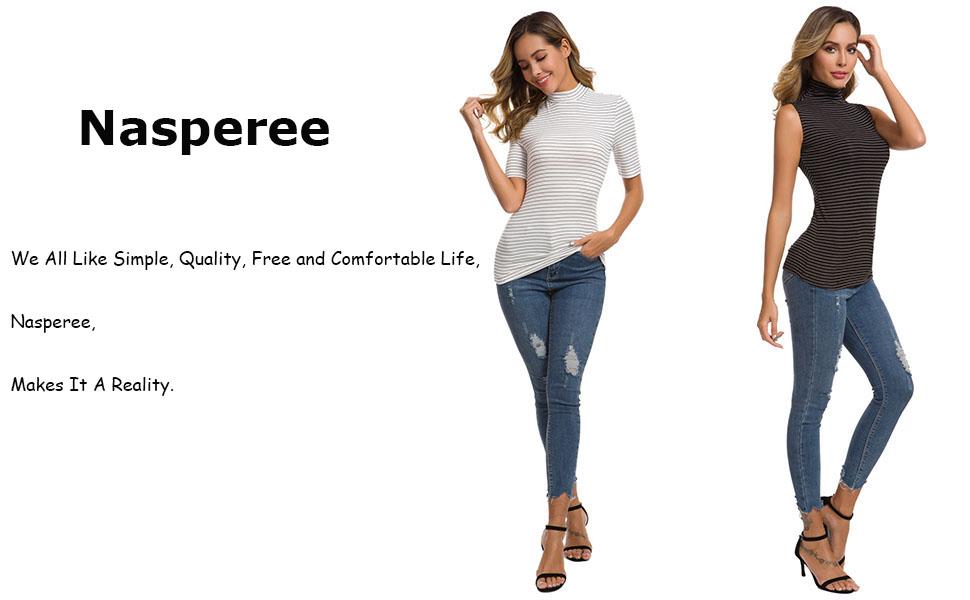Women Short Sleeve/Sleeveless Mock Turtleneck V Neck Solid/Striped Ribbed Stretch T Shirt Tank Tops