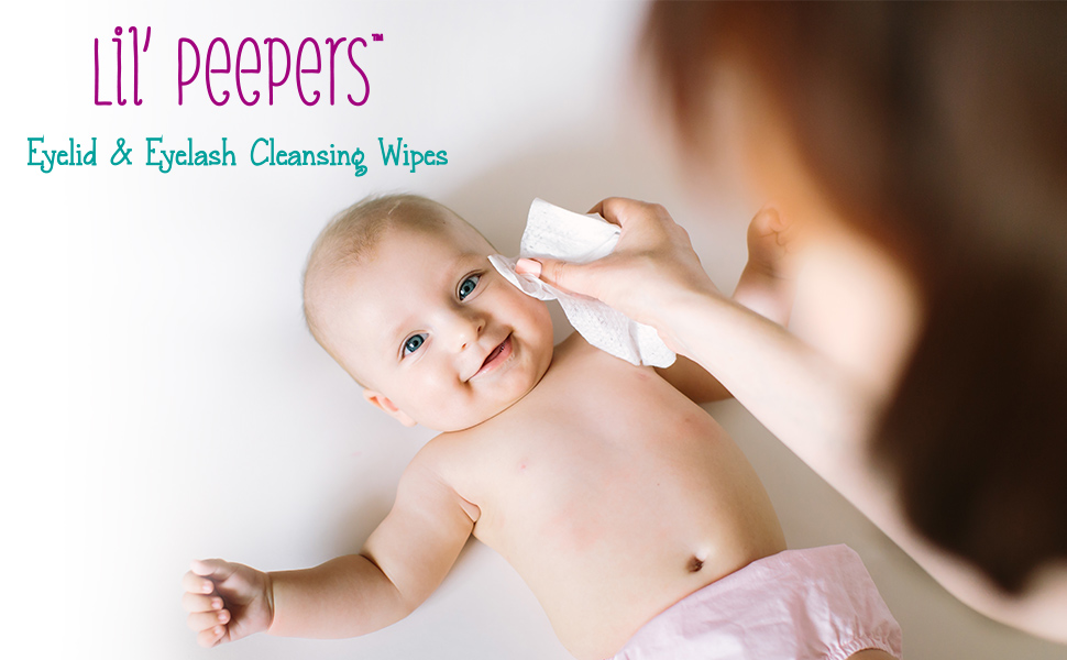 Eyelid eyelash cleansing wipes baby mother mom lil peepers gentle eye infant