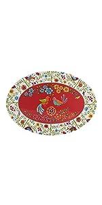 red spring bird oval platter