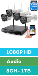 wireless security camera system with audio hard drive night vision outdoor 1080p