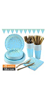 blue and gold party supplies.125