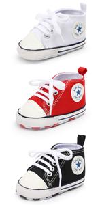 Unisex Baby Boys Girls Star High Top Sneaker Soft Anti-Slip Sole Newborn Infant First Walkers Canvas
