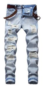 Men's Ripped Distressed Destroyed Slim Fit Straight Leg Denim biker Jeans