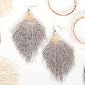 Humble Chic Fringe Tassel Statement Dangle Earrings - Lightweight Long Feather Drops