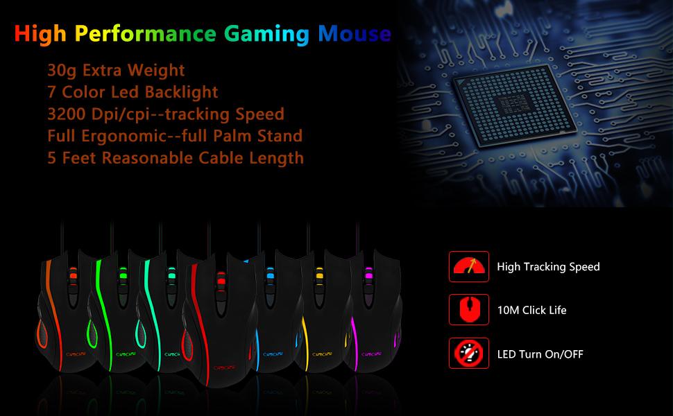usb gaming mouse 6 button ergonomic led backlit