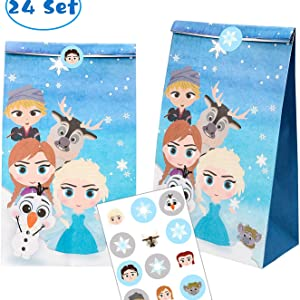 Frozen Candy Treat Bags Princess Theme Birthday Party Supplies Winter Snow Queen Goodie Party Favor