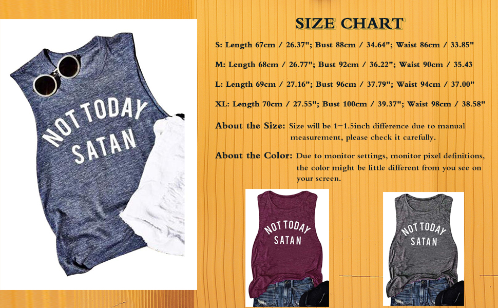 Women's Summer Not Today Satan Tank Tops Loose Casual Sleeveless Shirt