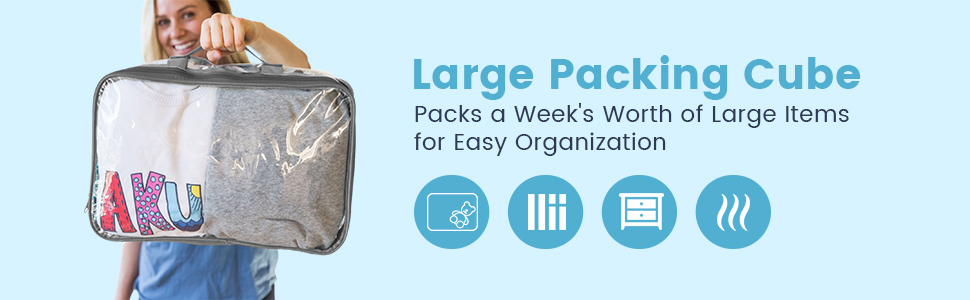 Large packing cube for travel organization