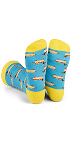 hot dog, daschund, socks, funny, fun, colorful, men, women, novelty, gift