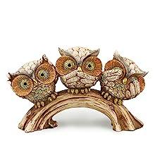 "6"" Three Wise Owl on Branch Figurine"