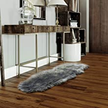 gray faux fur rug