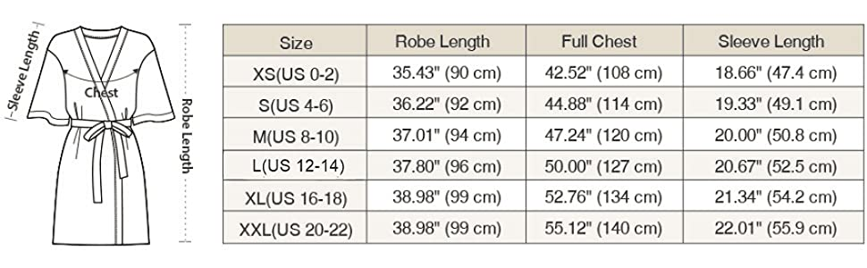 size chart for stain robe