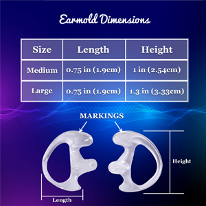 size chart, medium, large, pair, information, fits most, left, right, ear, markings
