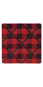 Woodland Buffalo Plaid Fabric Memory Memo Photo Bulletin Board - Red and Black Rustic Lumberjack