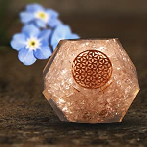 crocon rose quartz heart chakra Dodecahedron stand holder gift flower of life symbol