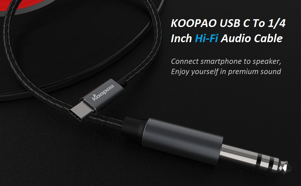 USB C to 6.35mm Male 1/4 TRS Audio Stereo Cable Adapter