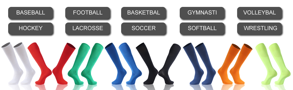 over the calf athletic compression long knee high soccer football tube socks