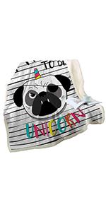 SleepSleepwish Pug Dog Blanket for Kids and Adults