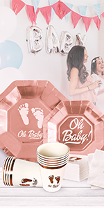 OH Baby Shower Party Supplies for Girl or Boy 64 Piece Set Rose Gold Collection