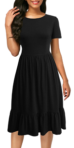 Women's Short Sleeve Casual Summer Dresses Flare A-Line Black Ruffle Midi Dresses with Pockets