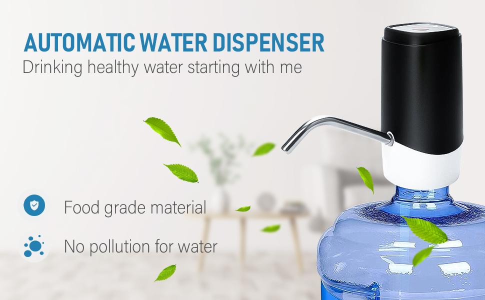 Water Bottle Pump YOMYM 5 Gallon Water Pump Dispenser USB Charging Portable Electric Drinking Water Bottle Dispenser Switch for Universal 5 Gallon Black