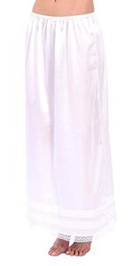 womens half slip snip it cut white black long dress skirt silk smooth anti cling static women ladies