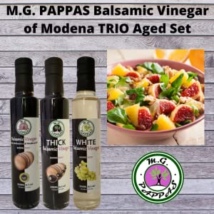 M.G. PAPPAS TRIO Balsamic Vinegar of Modena Barrel Aged Sweet Gourmet Italian Aceto Balsamico Set