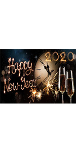 Black and Gold Bokeh Carnival Happy New Year Party  Backdrop Polyester 5x3ft