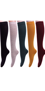 Knee High Socks Knit Cotton Casual Socks Solid Color W74