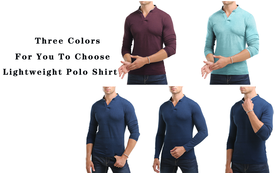 CHAKTON Men's Casual Long Sleeve Polo Shirt Slim Fit Basic Designed Cotton Golf Shirts