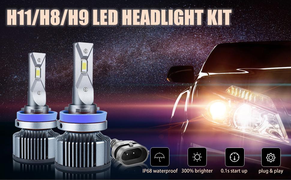 H11 H8 H9 Led Headlight Bulbs,6000K 12000LM