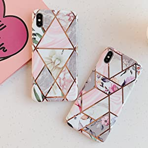 KERZZIL Plating Marble Case for iPhone Xs/X Pink