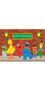 5x3ft Sesame Street Brick Wall Photography Backdrop Banner Cake Table Props