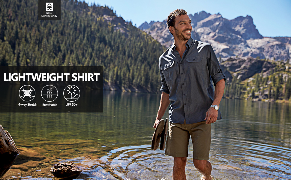 Camping Travel Fishing Little Donkey Andy Mens UV Protection UPF 50 Long Sleeve Shirt for Hiking Stretch and Quick-Dry