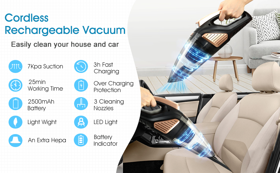 Cordless rechargeable vacuum easily clean your house and car