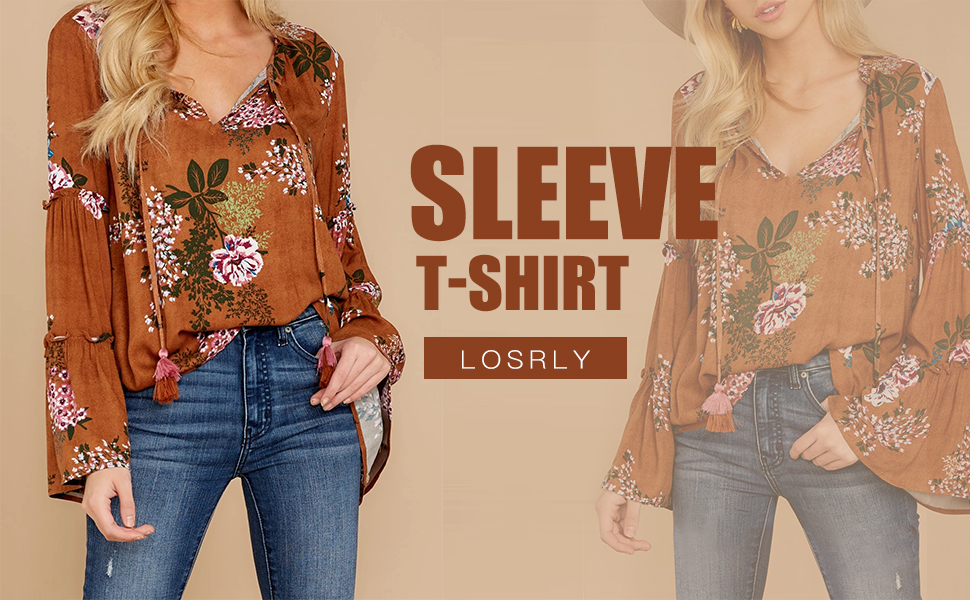 LOSRLY Womens Floral Printed V Neck Tops Bell Sleeve Casual Boho Shirt Peasant Blouses