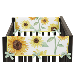 Yellow, Green and White Sunflower Floral Girl Side Crib Rail Guards Baby Teething Cover Protector