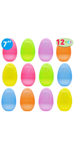 12 Pcs Jumbo Bright and Glittery Easter Eggs