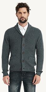 dark grey shawl collar cardigan
